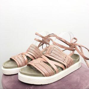 Inuikii Anthropologie Pink Embossed Sandals